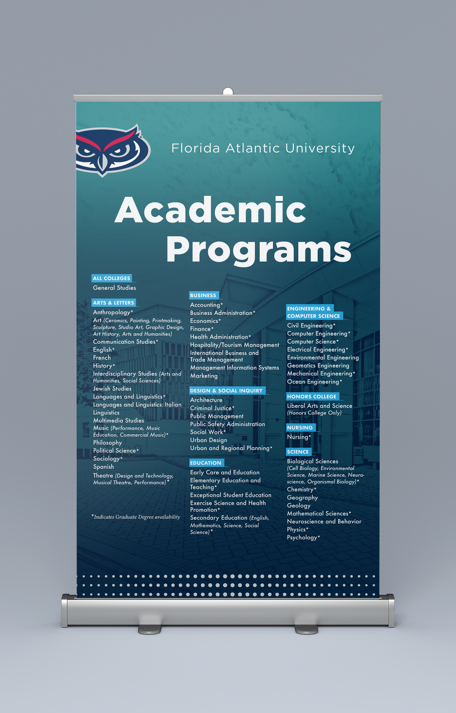 FAU Admissions Recruitment Table Top Banners
