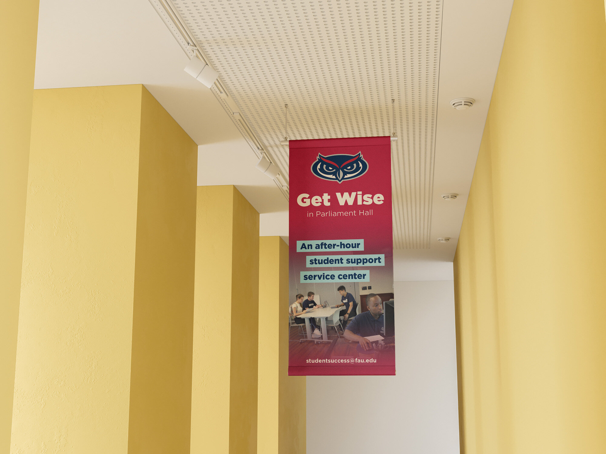 FAU Get Wise Campus Hanging Banner