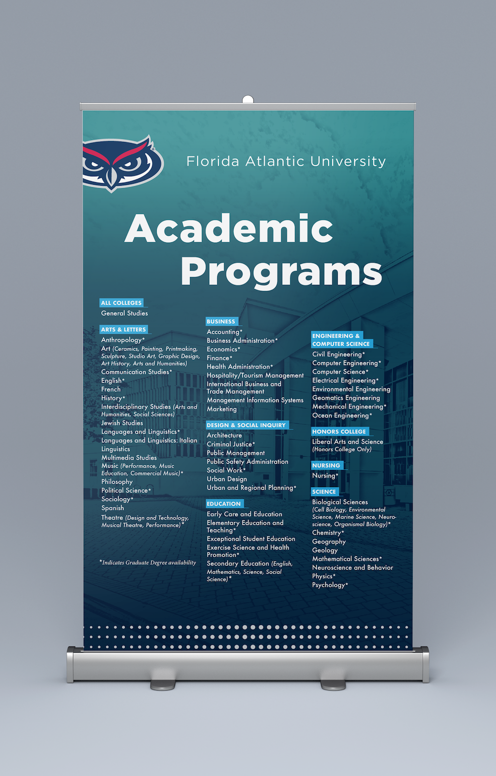 FAU Admissions Recruitment Table Top Banners_Academic Programs.png