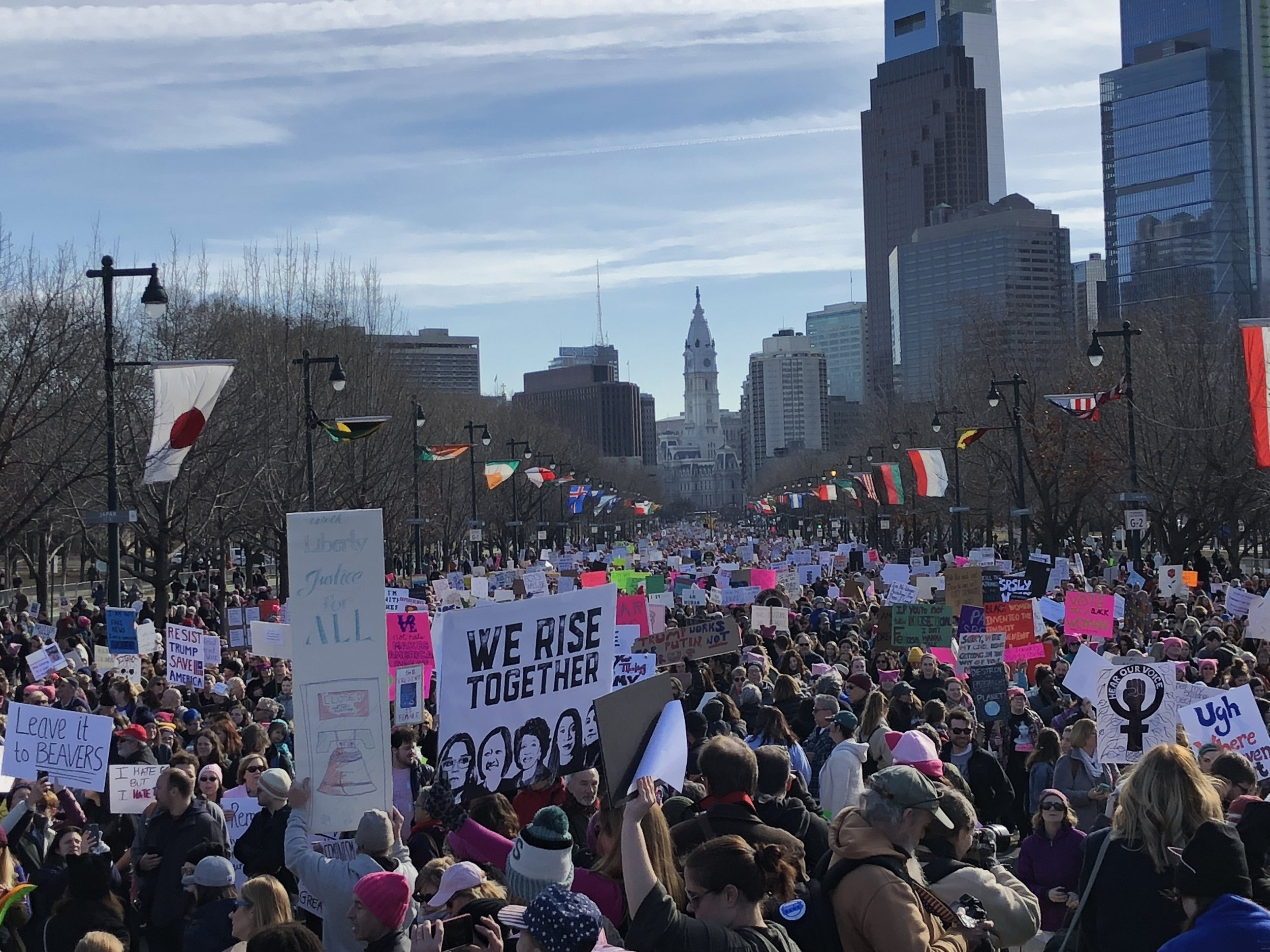 On January 20, 2018, members of H-CAN joined thousands on the Benjamin Franklin Parkway at the Philadelphia Women's March.