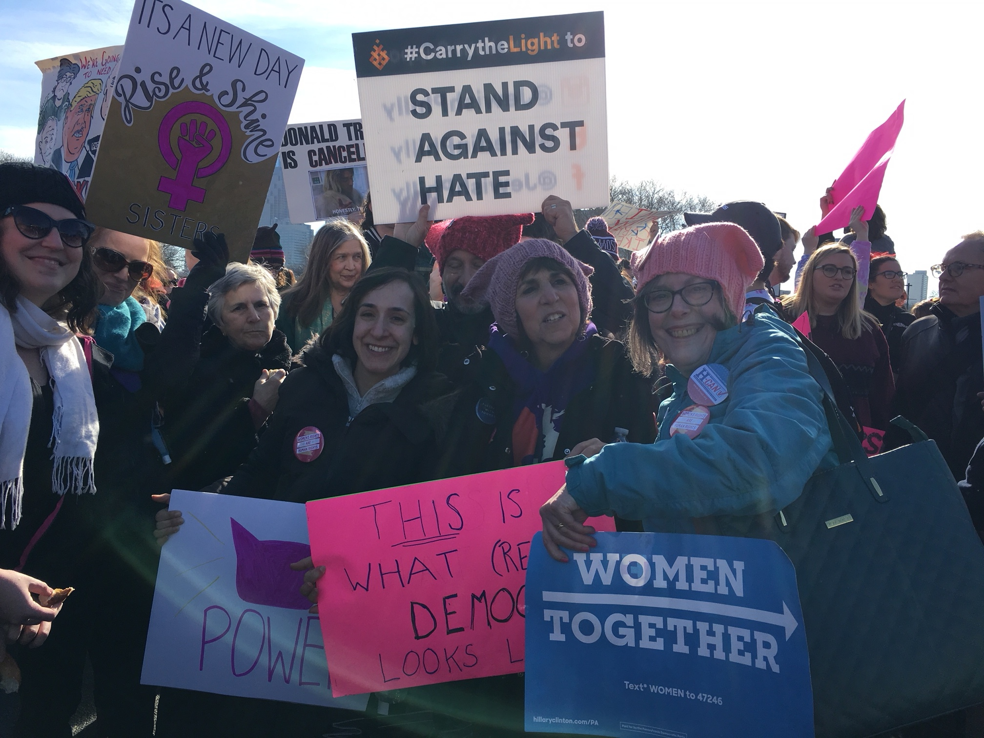 Tens of thousands of people came to the Philadelphia Women's March on January 21, 2017. H-CAN was there.
