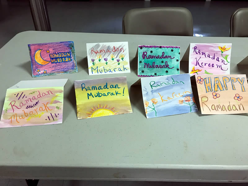 After a local mosque was threatened, H-CAN members and their children sent Ramadan cards to the mosque's congregation.