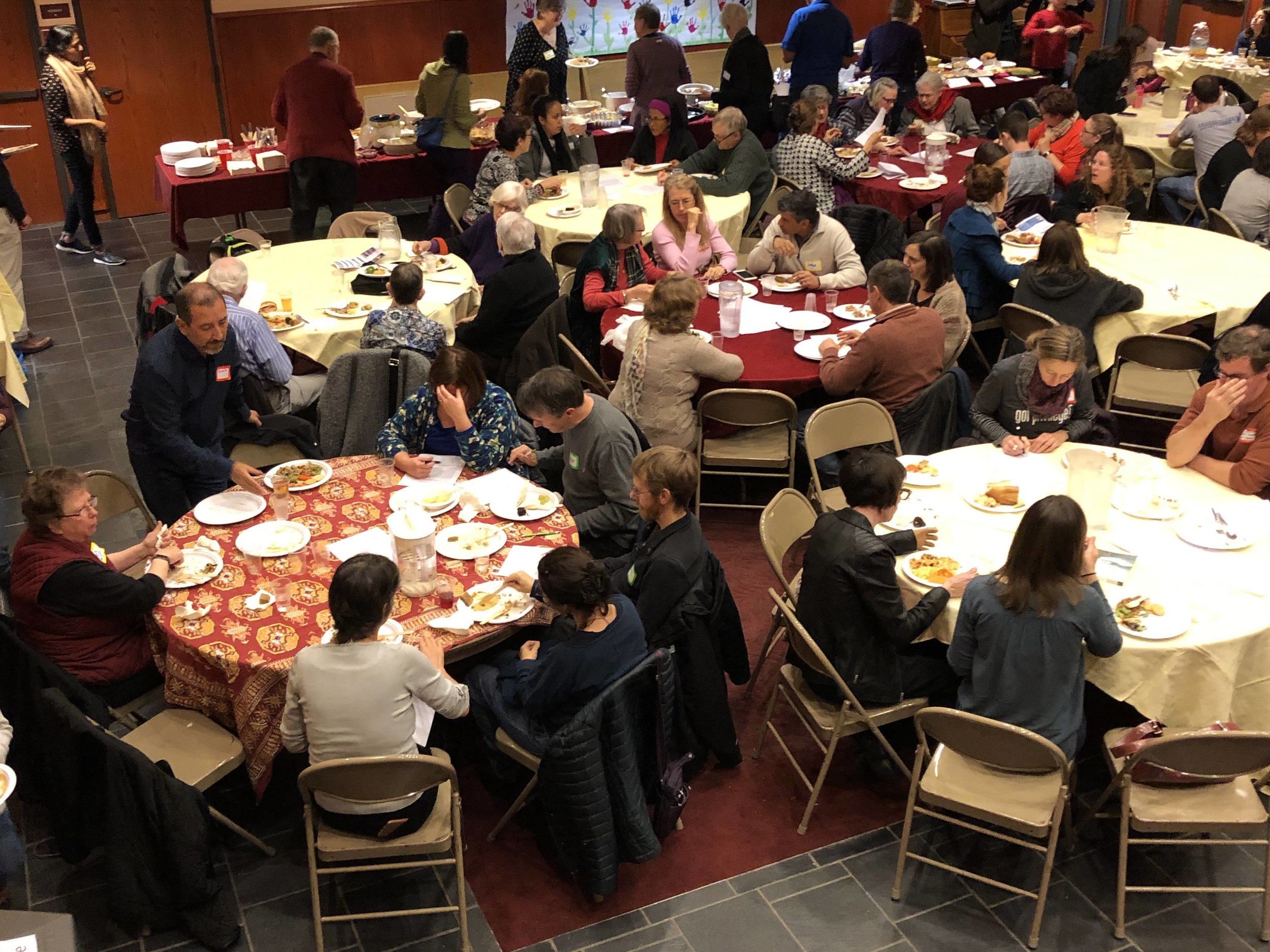 Great conversation and community building took place at the potluck.