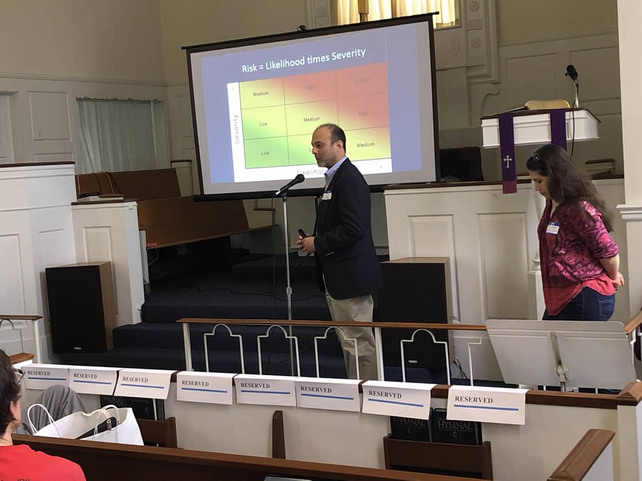 Eric Friedman (Del-Chesco United for Pipeline Safety) and Eve Miari (Clean Air Council) speaking at the April 14, 2019 H-CAN monthly event.