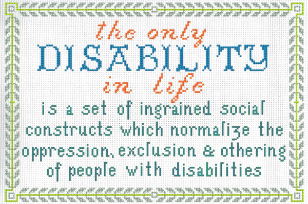 Cross stitch postcard for the disability and accessibility action group.