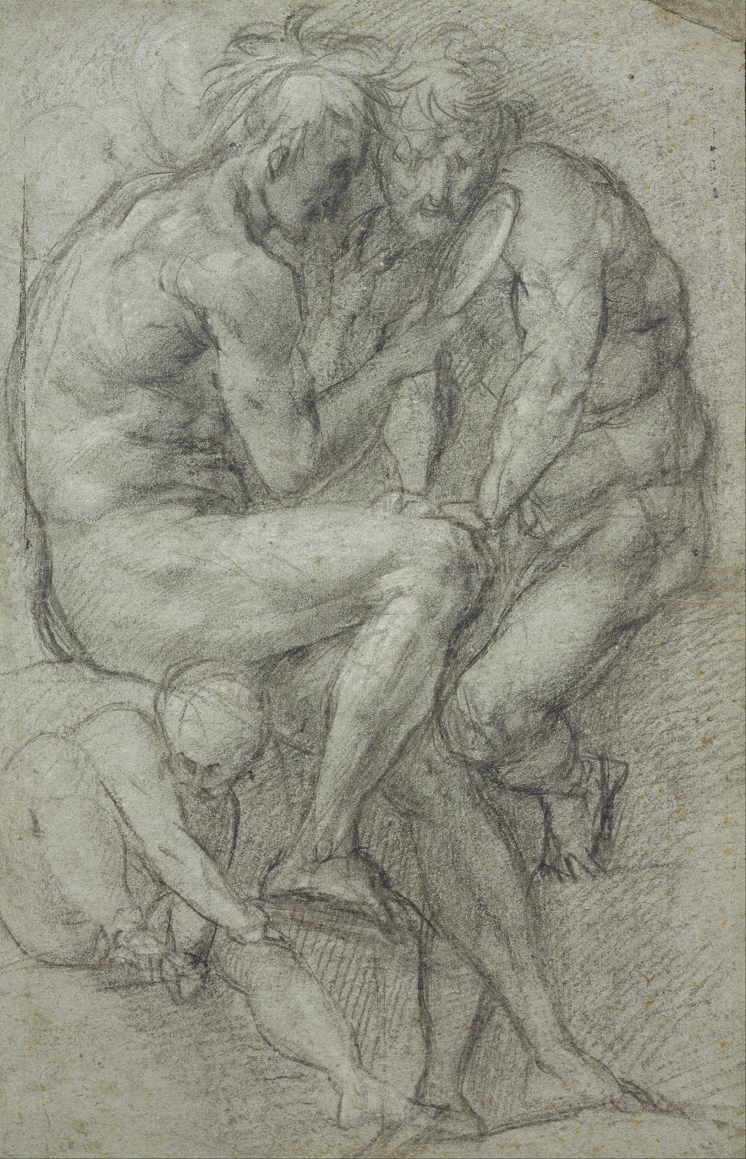 Pontormo_(Jacopo_Carucci)_-_Studies_of_nudes_(two_men,_seated,_looking_in_a_mirror,_and_a_seated_boy)_-_Google_Art_Project.jpg
