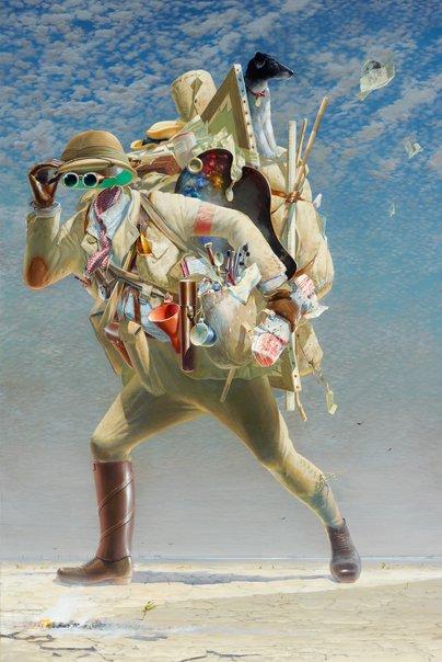 """  The histrionic wayfarer (after Bosch)  "" Tim Storrier"