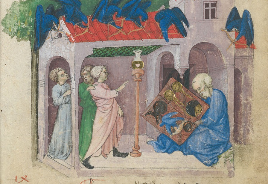 """The """"discovery"""" of the  Emerald Tablet.  A familiar origin story for occult documents is that they are written by gods (the meaning) and hidden on earth as a text (the embodiment) for people to find. The alchemical """"arts"""" indeed."""