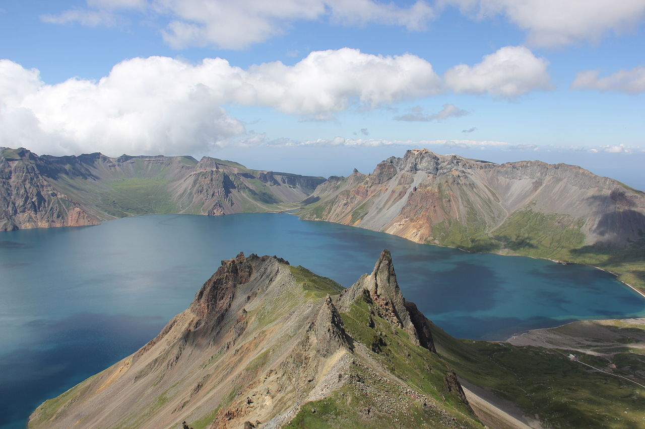 The legendary      Heaven Lake        on top of  Paektu Mountain  at the North Korean-Chinese border. Geological term for this feature is a     crater lake  .