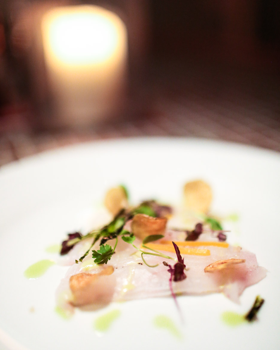 """Fluke Crudo -""""Drink Local"""" Wine Dinner series, last night at The Plaza Cafe featuring Channing Daughters Winery in Bridgehampton. photo by Eric Striffler"""