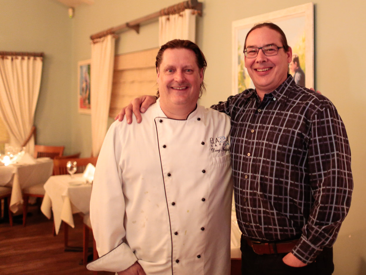 "Plaza Cafe's Doug Gulija and Channing Daughter's Christopher Tracy last night's ""Drink Local"" Wine Dinner series, last night at The Plaza Cafe featuring Channing Daughters Winery in Bridgehampton. photo by Eric Striffler."