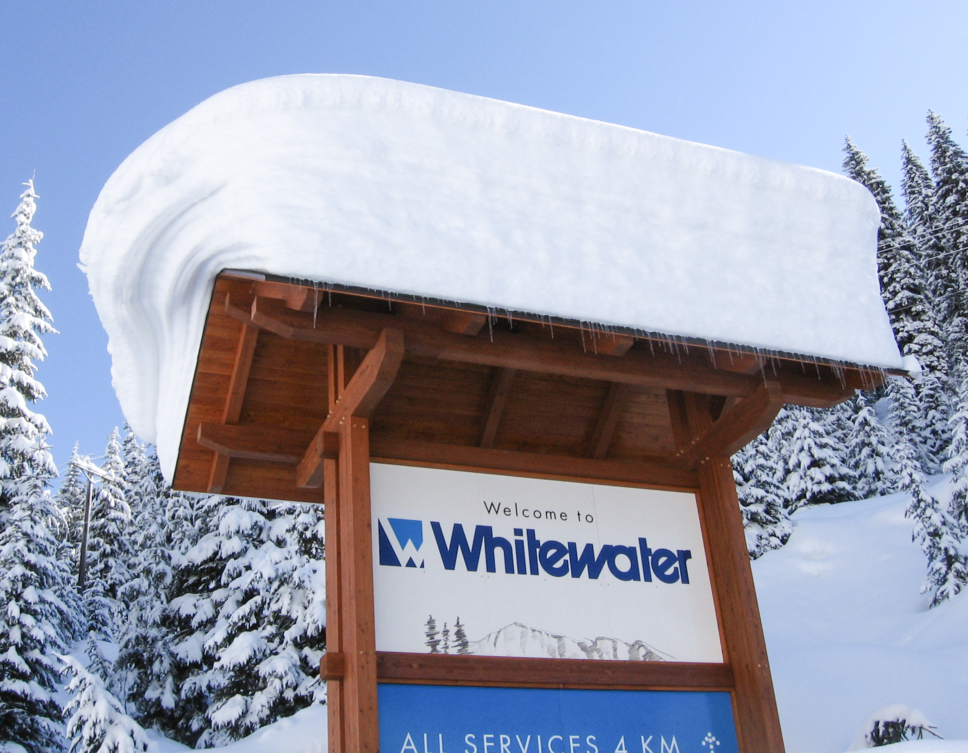 Whitewater SIgn under Snow