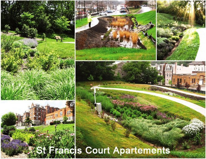 The project described in this article was at the St Francis Court Apartments in Cincinnati and was part of a city-wide effort to add green infrastructure to their parks system.