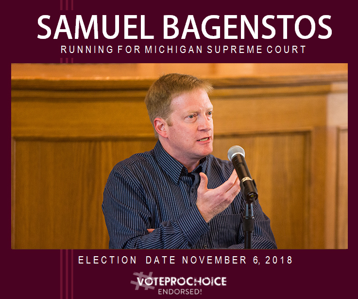 Picture of Samuel Bagenstos with text: Samuel Bagenstos, Running for Michigan Supreme Court, Election Date: November 6, 2018, #VOTEPROCHOICE