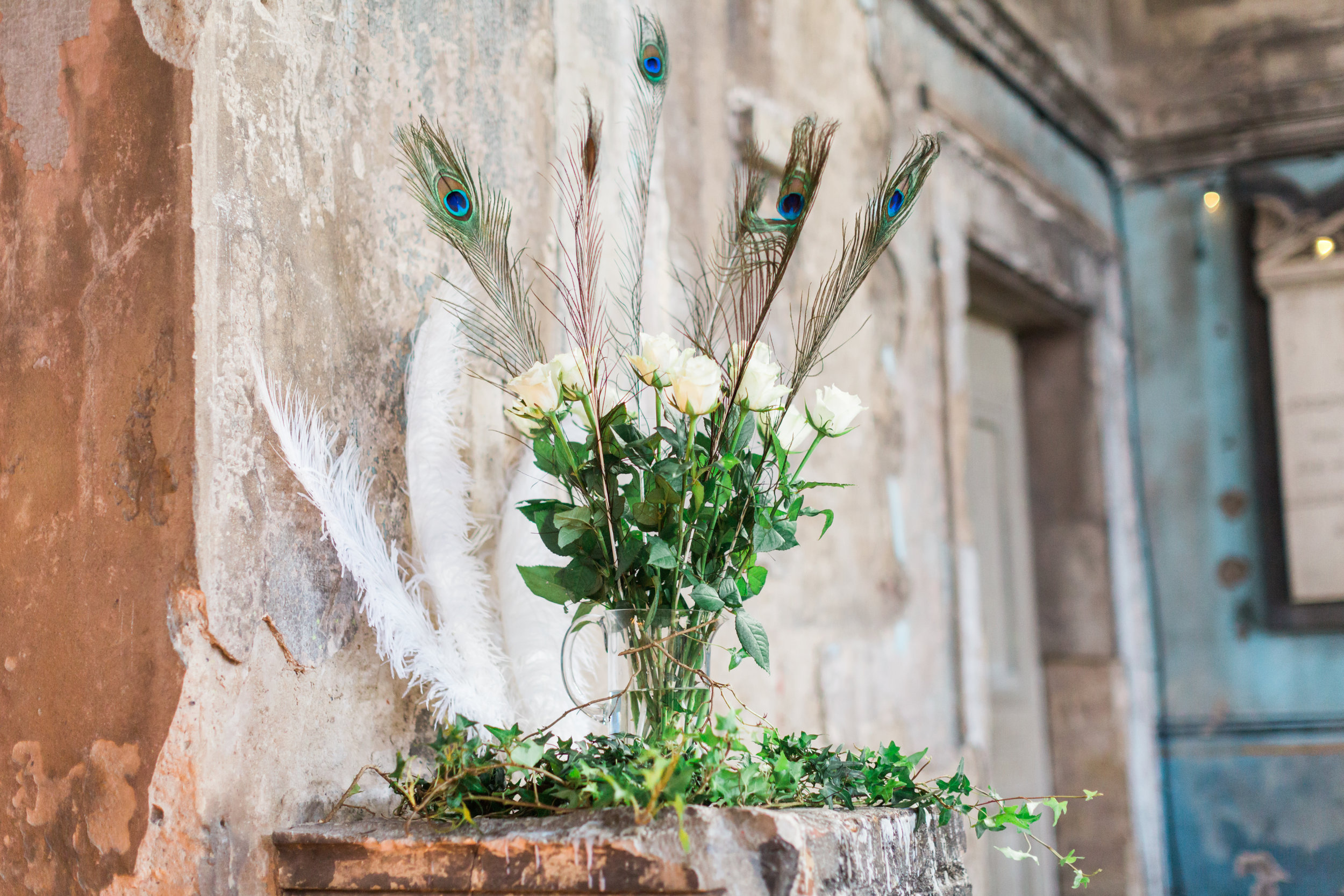 beautiful peacock feathers at wedding.jpg