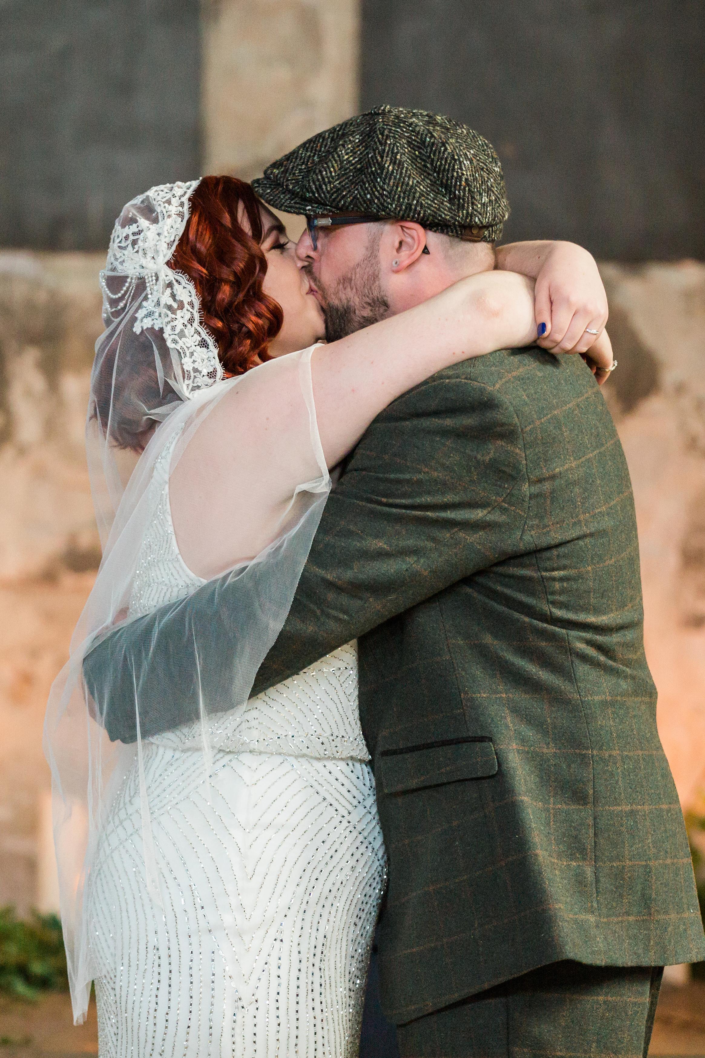 vintage wedding the first kiss.jpg