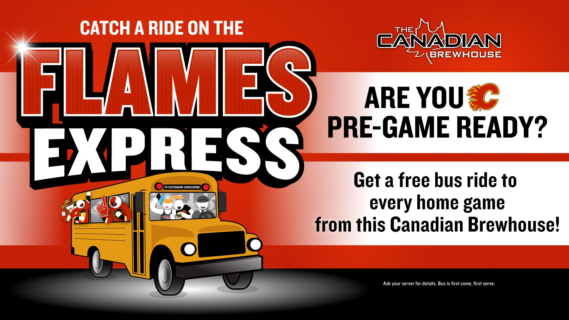 Take the Brew Bus to Flames Home Games - To check for dates, click this photo >>>