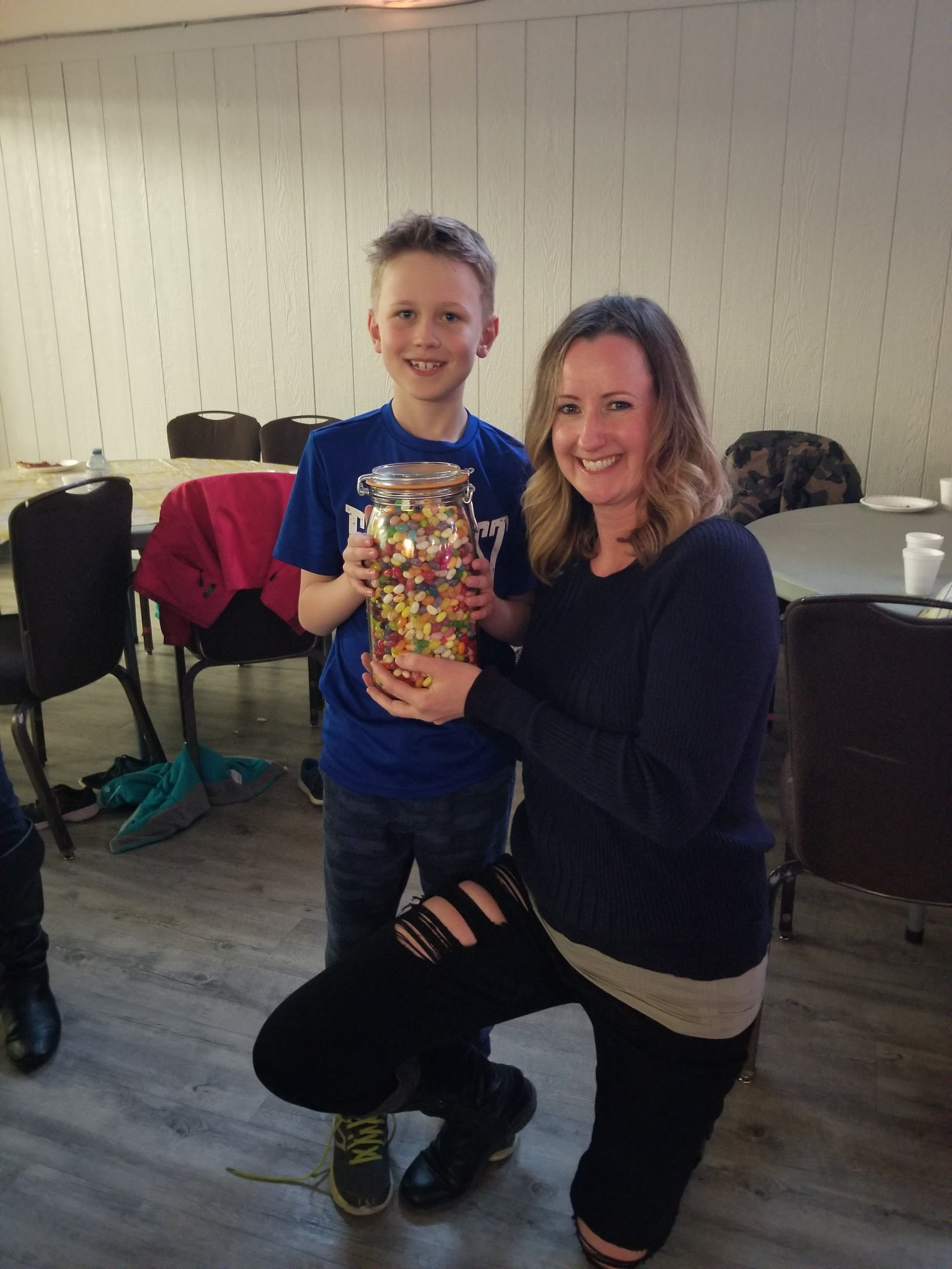 JELLY BEAN GUESSER WINNER - CHASE MELBY!   AND, HE SHARED THE JELLY BEANS WITH THE OTHER KIDS AT THE DANCE.