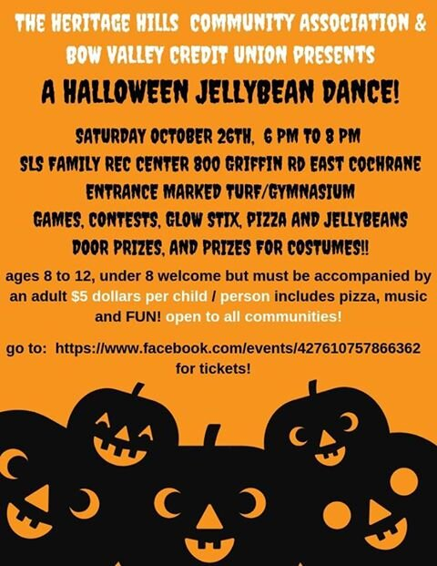 Halloween Jelly Bean Dance - Spray Lakes Sawmills Family Sport Centre, October 26th from 6pm to 8pm - $5 pp