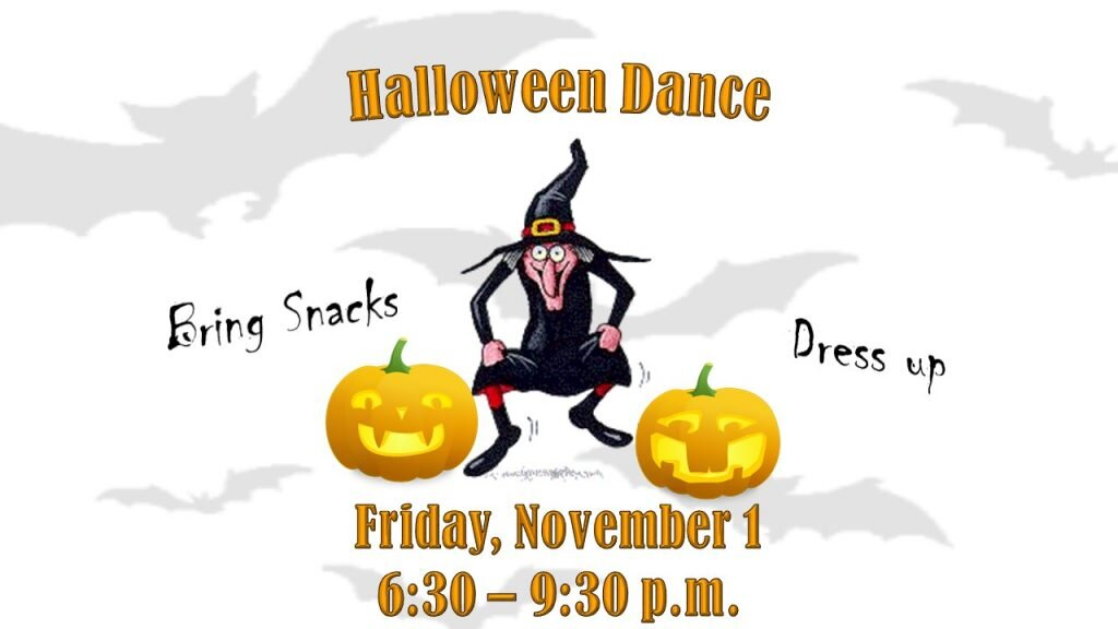 All Ages Halloween Dance - St. Andrew's United Church - November 1st from 6:30pm to 9:30pm - Bring a snack for the snack potluck!Free for everyone!