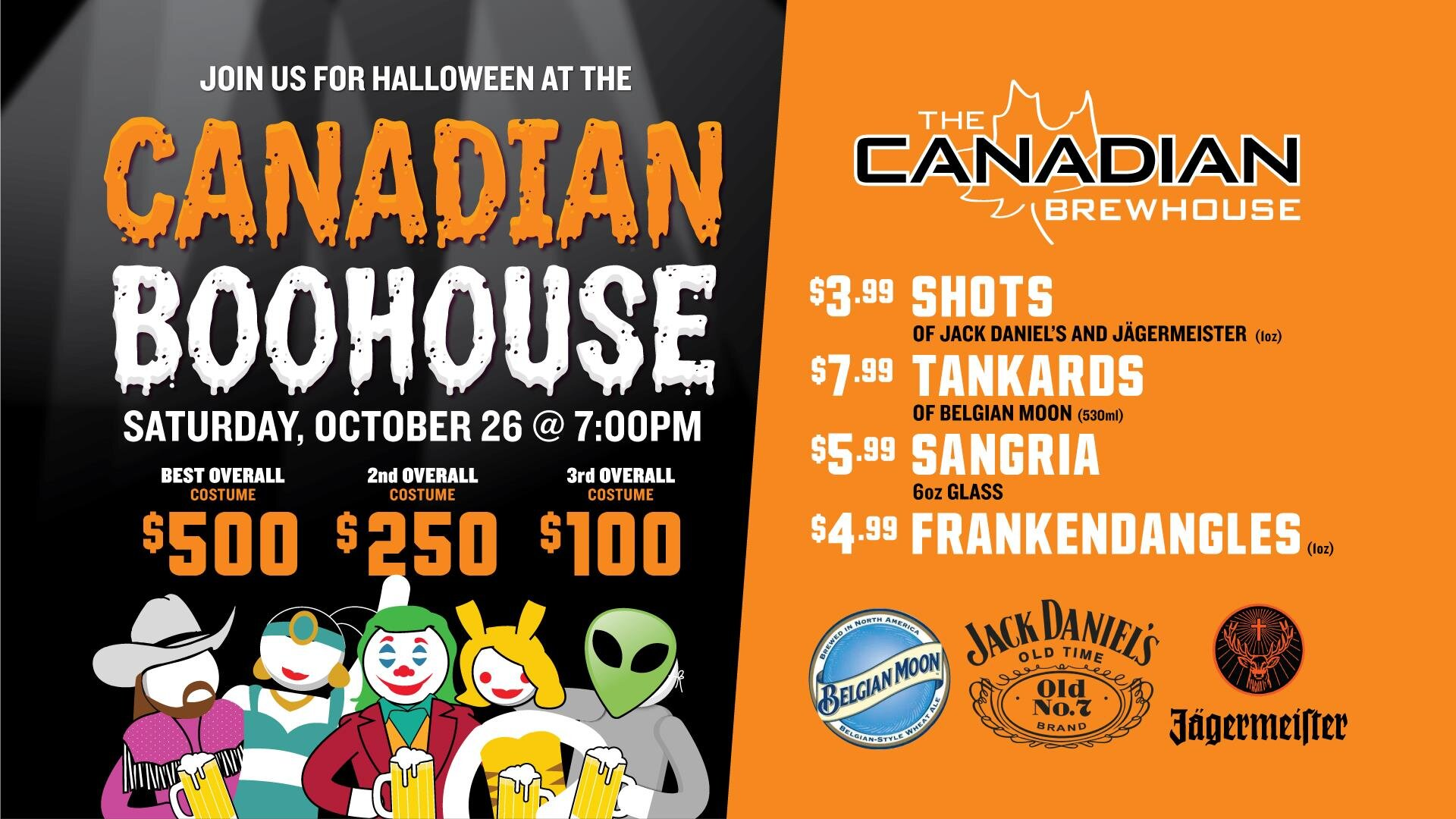 Canadian Boohouse Halloween Party - Canadian Brewhouse - QuarrySaturday, October 26 from 7pm to 2am