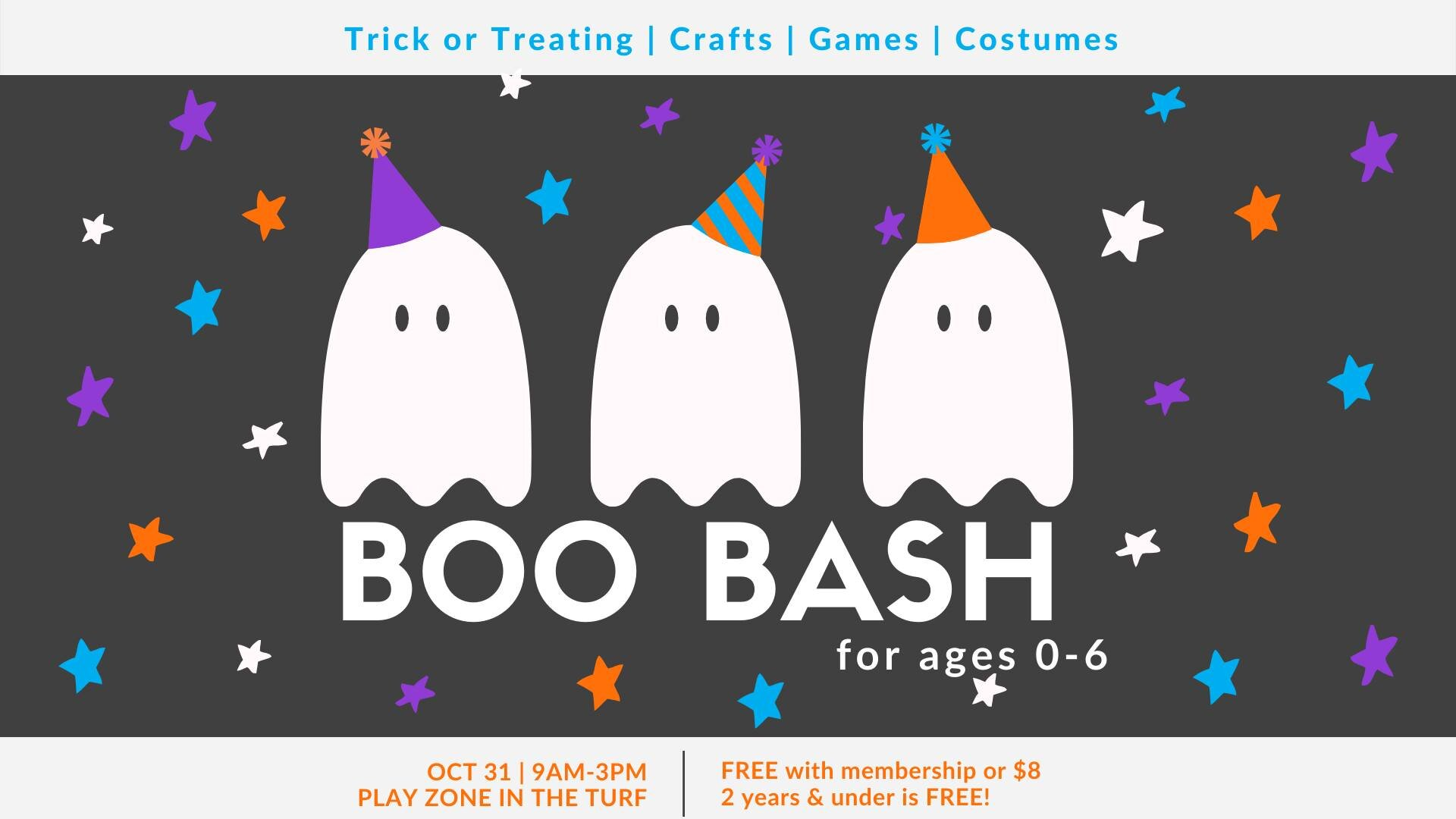 Boo Bash for ages 0 - 6 years - Spray Lakes Sawmill Family Recreation CentreThursday, October 31 from 9am to 3pmFree with membership or $82 years and under is Free!