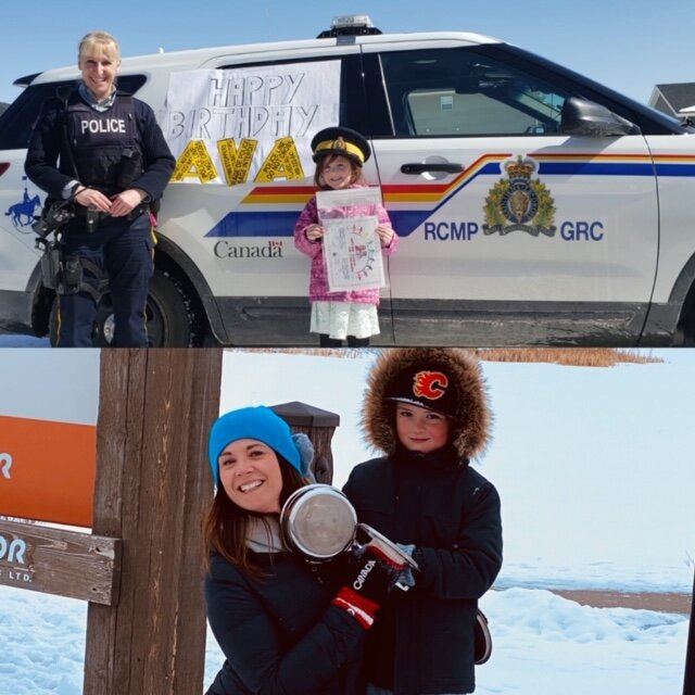 (Top pic) Cochrane RCMP celebrate 5 year old Ava's birthday. (Bottom pic) Mom and son bang their pots in the community of Sunset Ridge in support of all essential workers.
