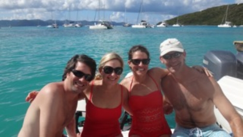 The Millers and Easterlings vacationing together in St. John