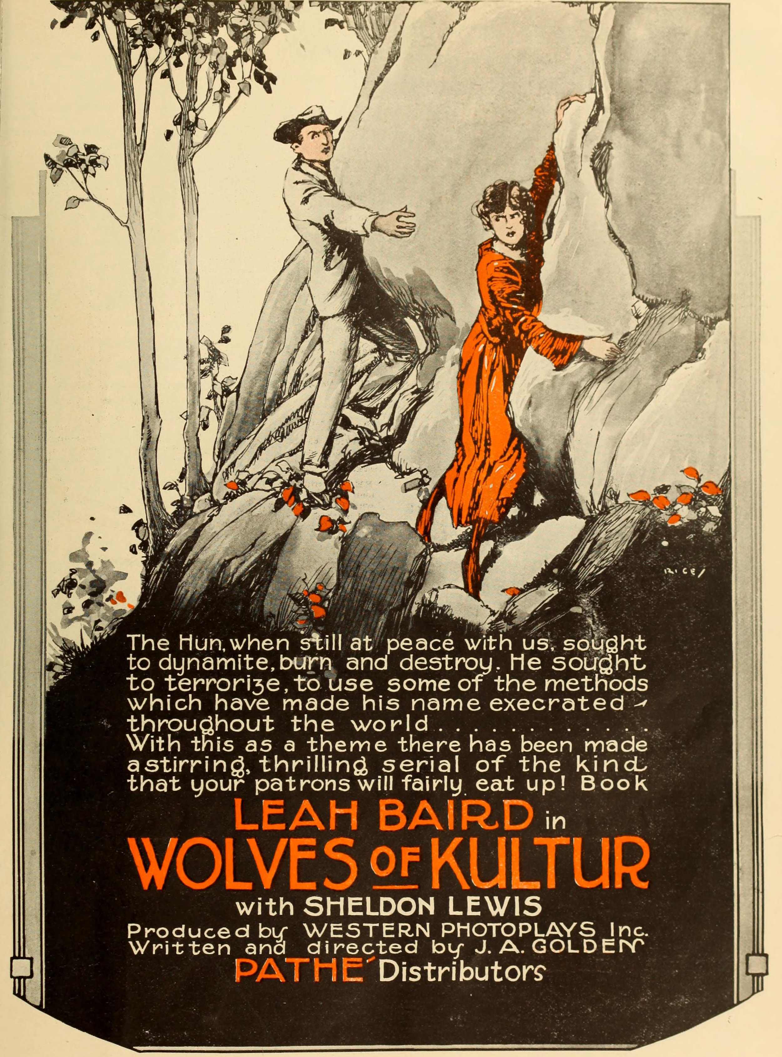 Fig 1. Advertising for  Wolves of Kultur  emphasized the film's use of the Palisades.