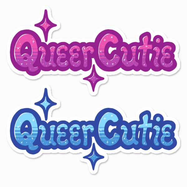 """Queer Cutie"" Sticker in 2 proposed colourways"