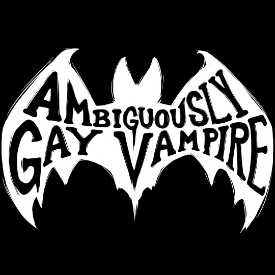 """Ambiguously Gay Vampire"" B&W Logo T-Shirt Design"