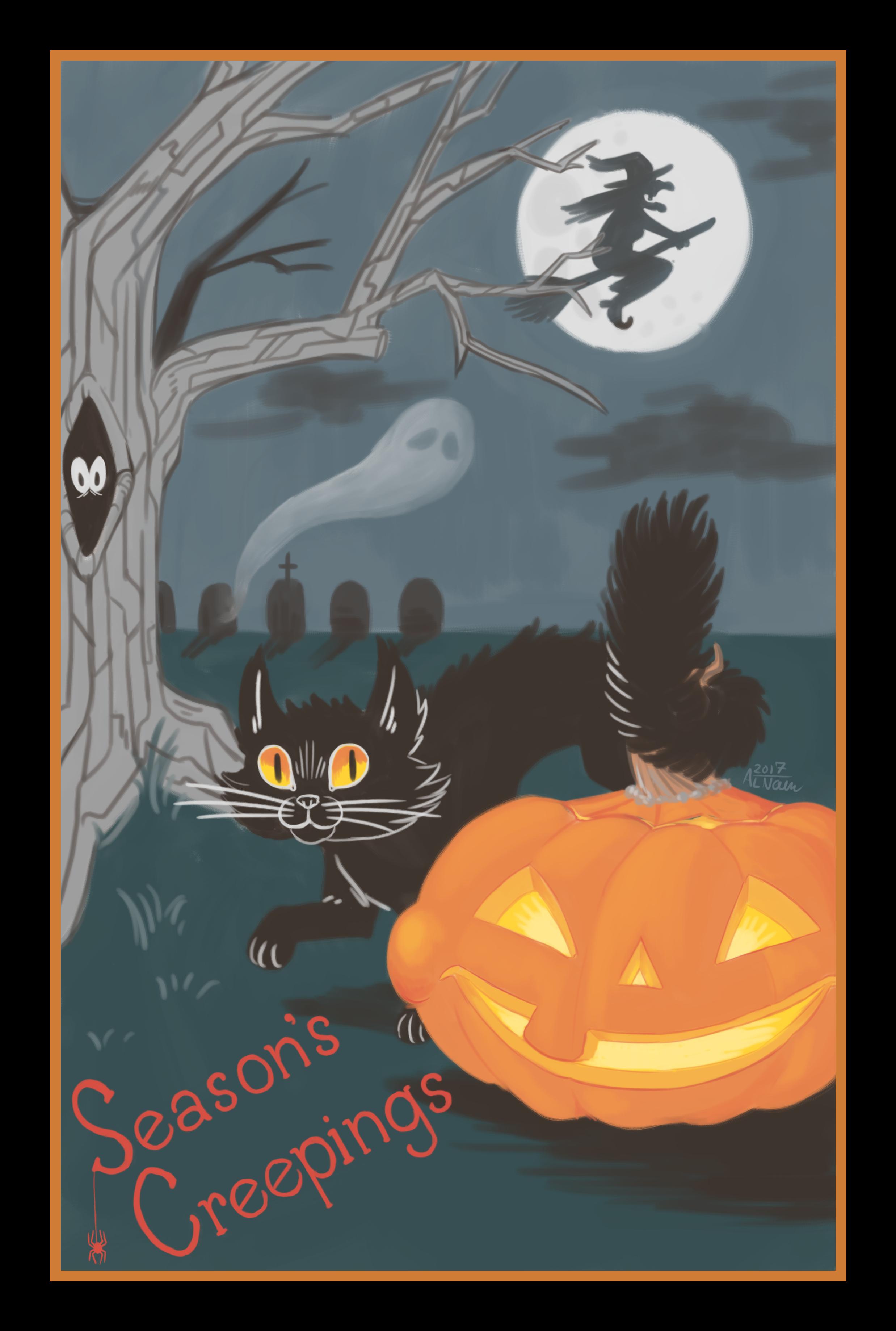 """Season's Creepings""  Halloween Postcard, digital 2017"
