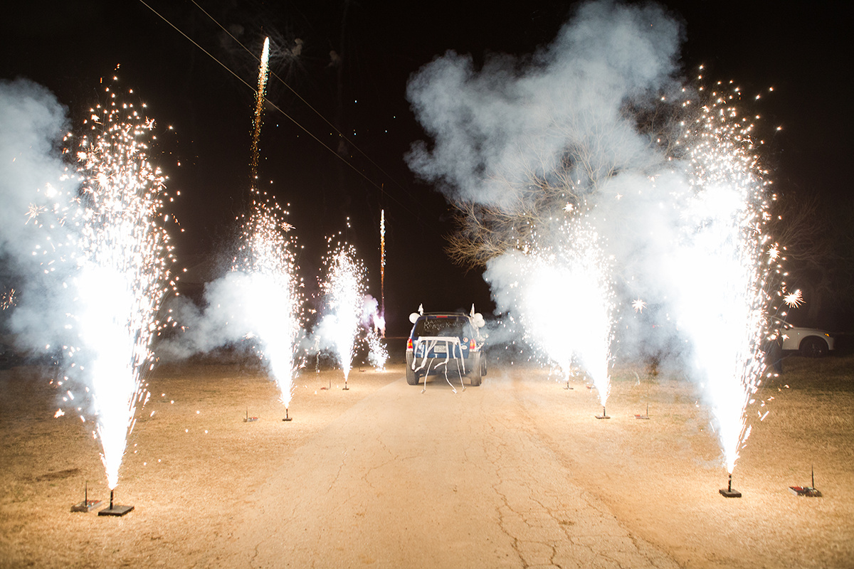 A Wedding Send-Off with Fireworks!