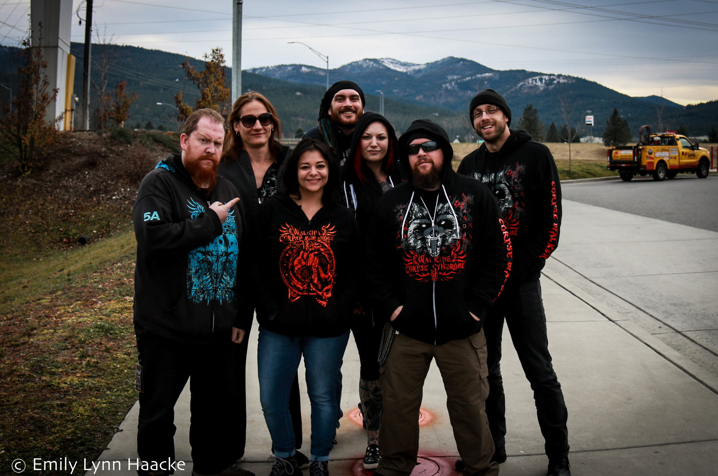 From left: Nocktis, Tana Starkey, Emily Lynn Haacke, Leif Winterrowd, Billie Flatt, Mr. Grimm, Matthew Bile
