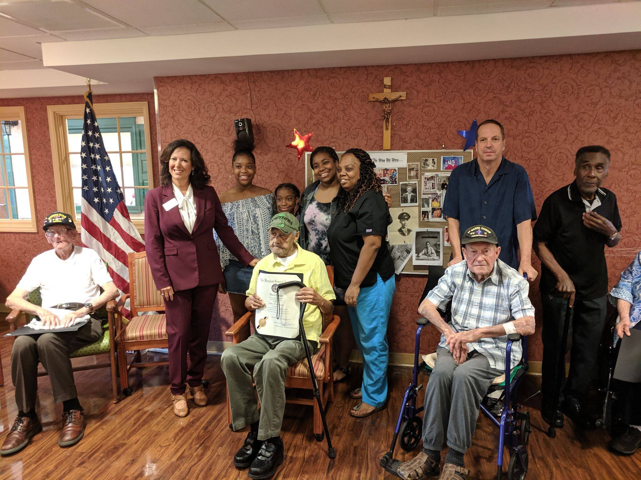 - Yesterday I had the honor of presenting Citations to 6 WWII veterans at Stella Maris Senior Center. The courage and selflessness of their generation is inspiring and reminds us to never forget their sacrifices and the sacrifices of those serving in our military today. It is our duty to support their physical and emotional needs when they come home and care for their families when they do not. We will feature a list of individuals and their service on our website soon.