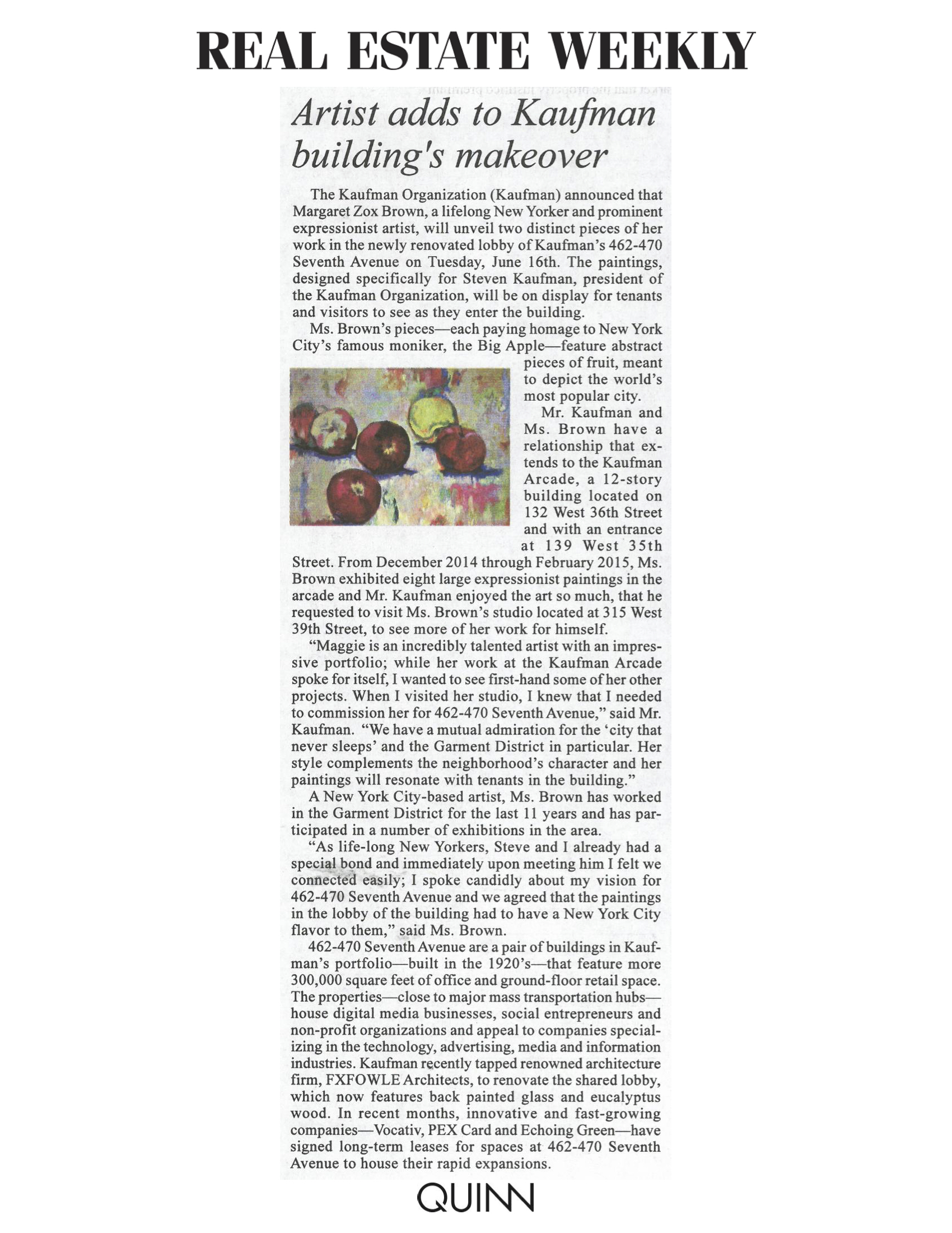Real Estate Weekly, Artist Adds to Kaufman building's makeover,  6.10.15.jpg