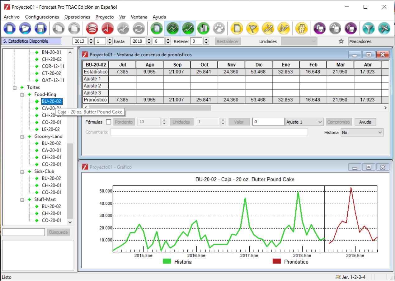 Visualización de los pronósticos generado y pantalla de consenso