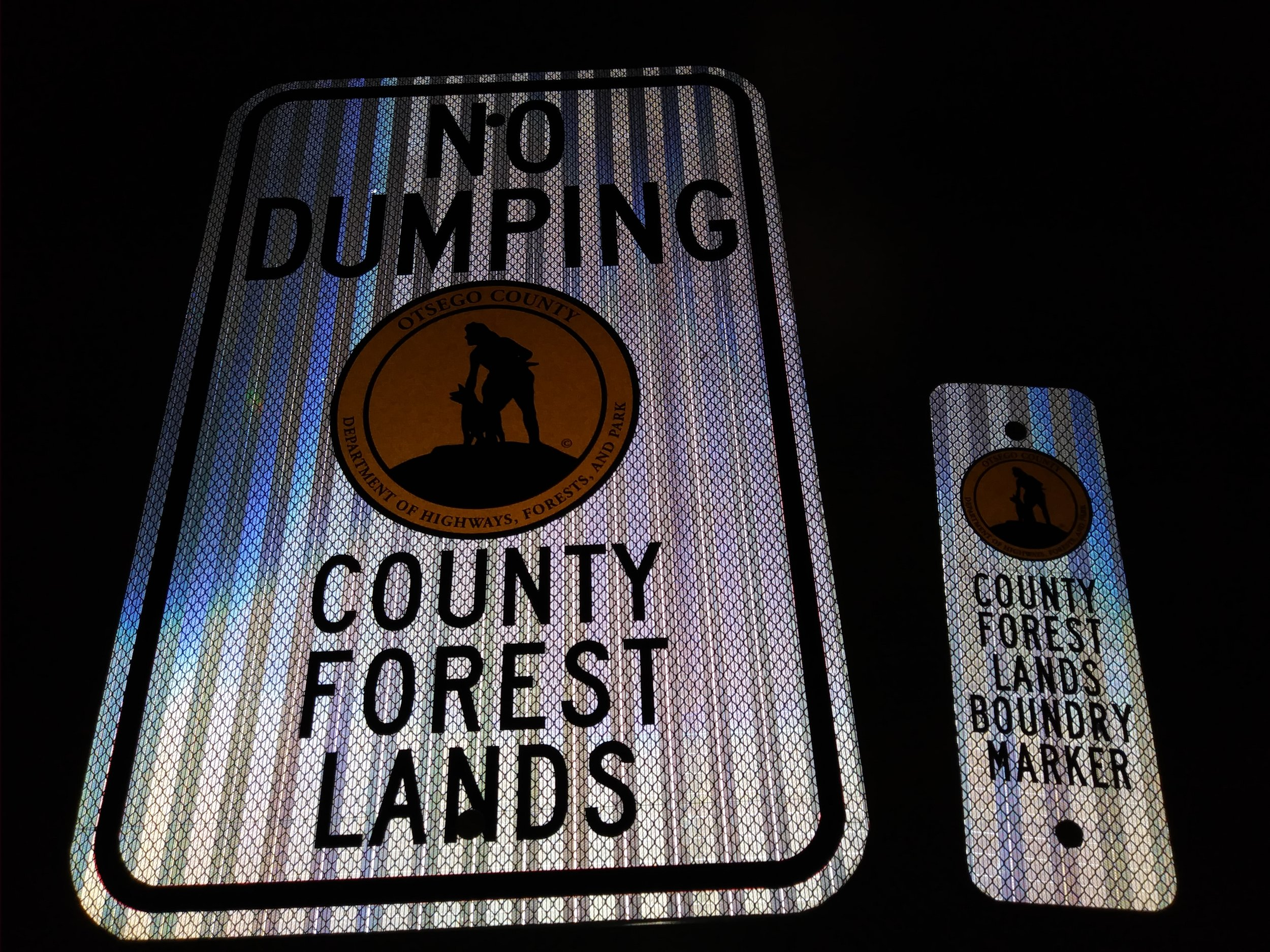 New County Forest Lands No Dumping and Boundary Marker Signs