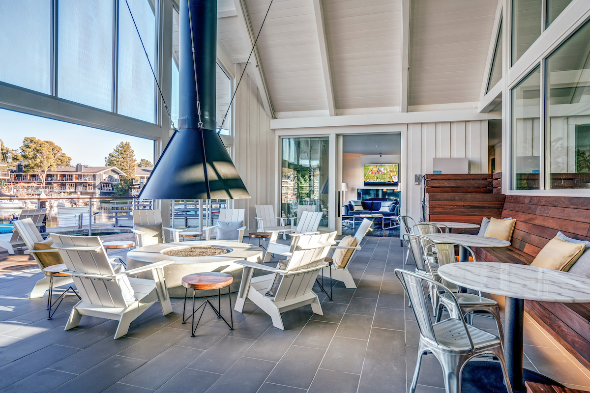 The Cove at Tiburon new Clubhouse with fireside lounge overlooking a private marina