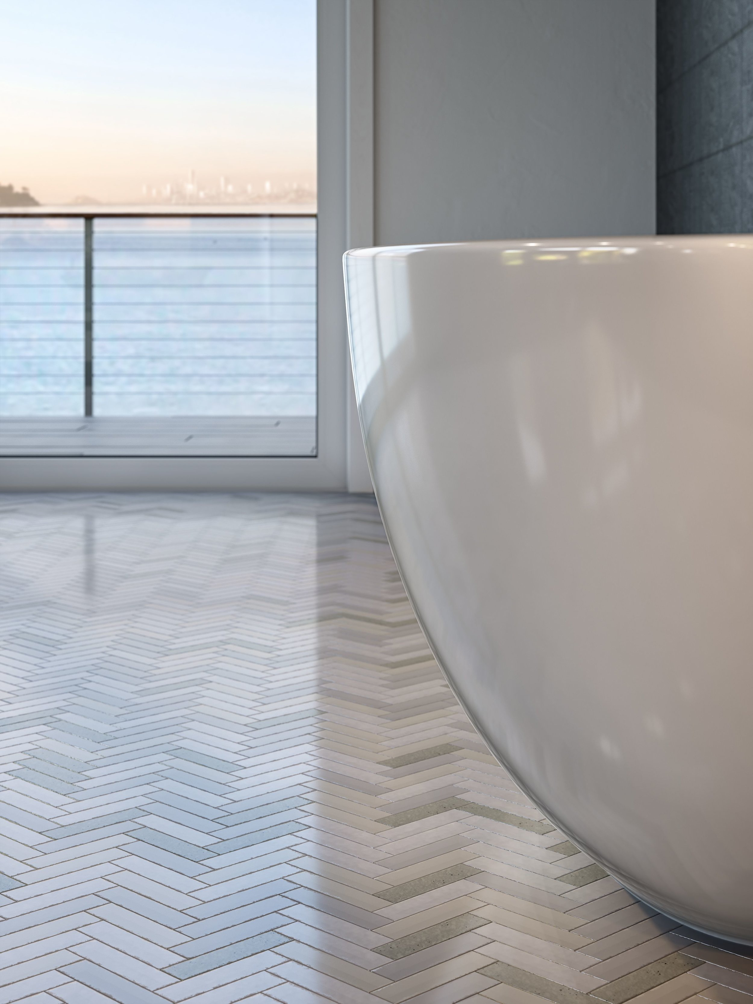 The four-bedroom residence at The Pointe features Carrara marble slab and hones stone countertops, Waterworks fixtures and ceramic tiling