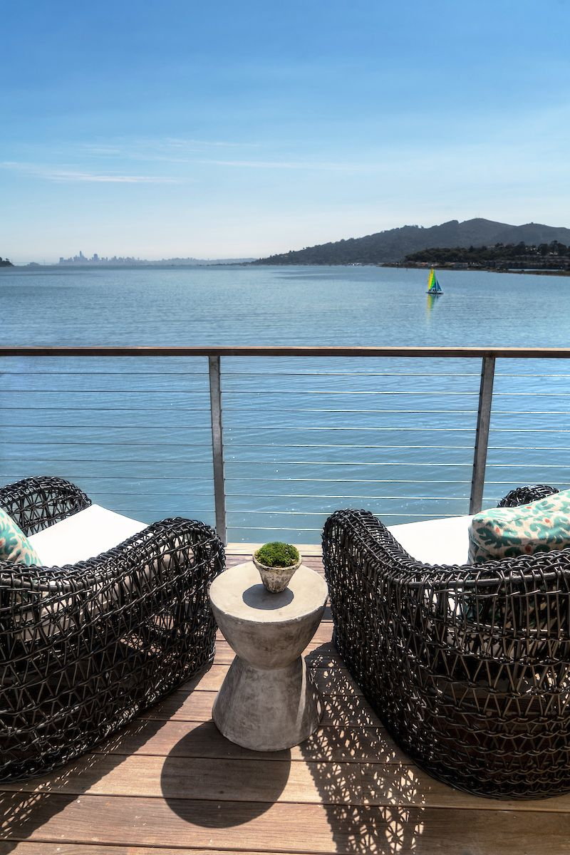 The Pointe at Cove luxury waterfront apartments offer stunning views of the San Francisco skyline. Overhead heat lamps on the balconies enable residents to partake in nature's beauty regardless of the seasonal chill