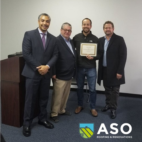 Alfonso Sanchez recognized for completing a Construction Management Course provided by the City of Houston.