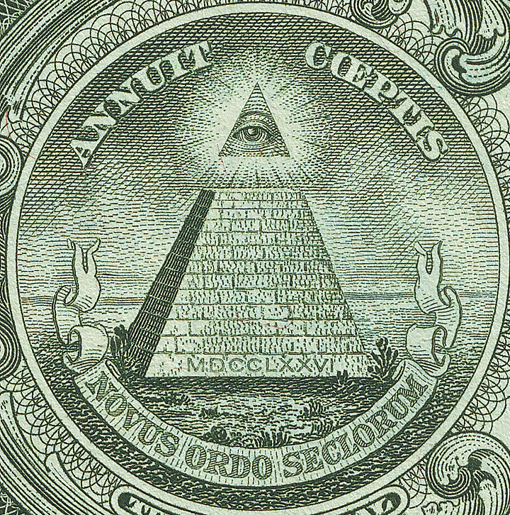 The Eye of Providence, from the back of a USA one dollar bill, and a common symbol associated with a number of conspiracy theories (image taken from wikimedia commons.)