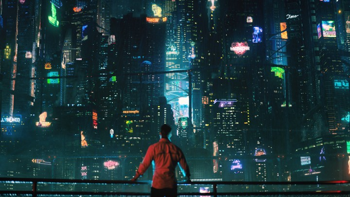 Cityscape from Netflix's  Altered Carbon  (2018), based on Richard K. Morgan's 2002 novel of the same name. Part of the seed for this piece was a  youtube video on cyberpunk aesthetics  by the channel Just Write.
