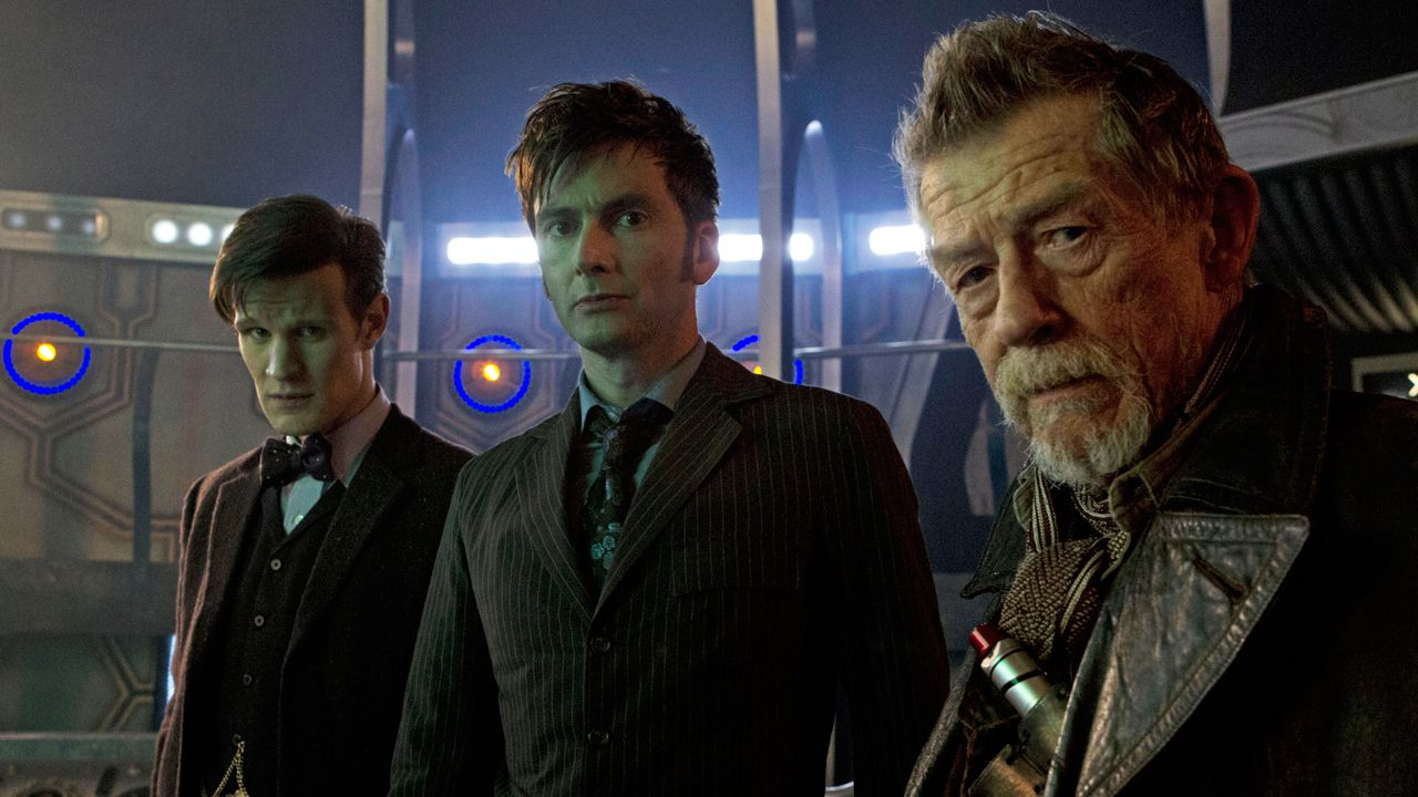 Three incarnations of the Doctor, from left to right: Matt Smith, David Tennant, and John Hurt. Image taken from  Slant  magazine.