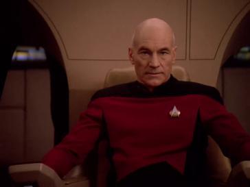 Patrick Stewart as Jean-Luc Picard in  Star Trek: The Next Generation .