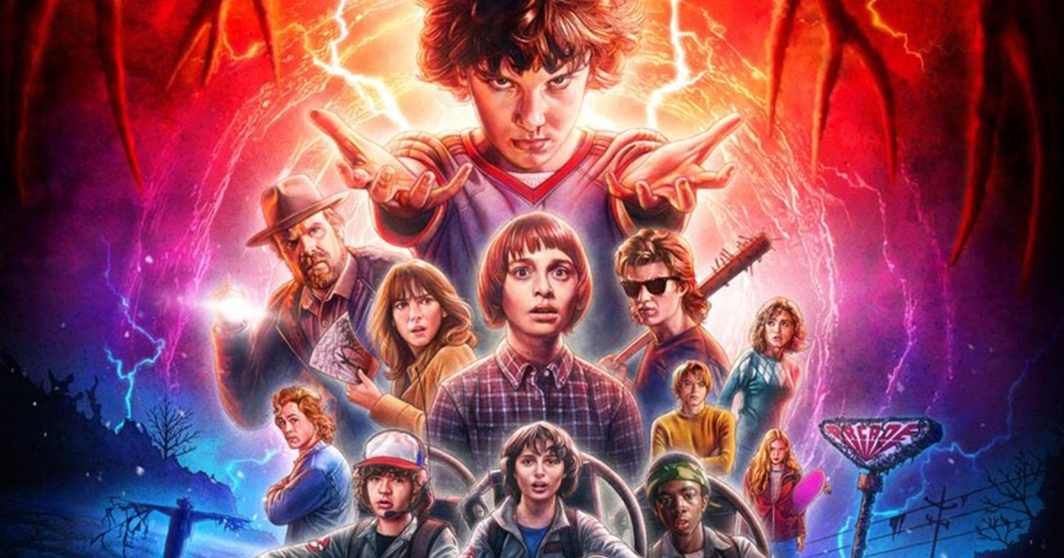 The poster for  Stranger Things  season 2, displaying a significant (but not complete) portion of the cast. Series by Netflix, poster by  Kyle Lambert .