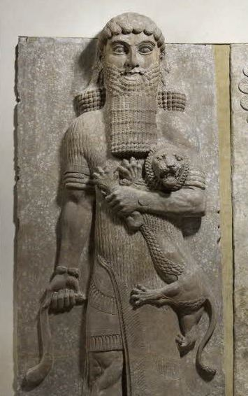 Gilgamesh, the guy who started all of this. (Actually, a Neo-Assyrian basrelief of a male figure overpowering a lion. Currently housed in the Louvre.)