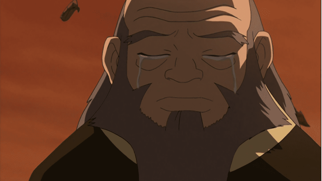 Uncle Iroh shedding tears on the anniversary of his son's death. Image links to a piece on  the Escapist  by Henry Werhane, which analyzes him as a masculine role model