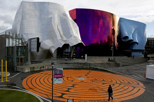 The Experience Music Project in Seattle, photo taken from the Seattle Times (Ken Lambert/Seattle Times) — a truly ugly building.